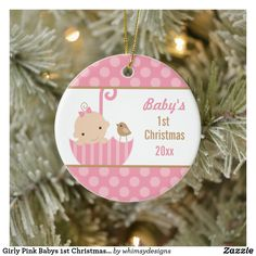 Girly Pink Babys 1st Christmas Ornament Baby's 1st Christmas Ornament, Babys 1st Christmas, Baby Ornaments, Christmas Cards, Gifts For New Parents, Christmas Paintings, Girly, Holiday Decor, Pink