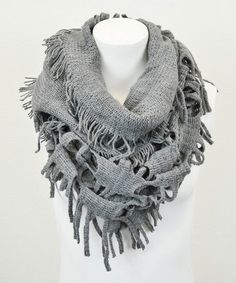 Love this Gray Fringe Infinity Scarf by Leto Collection on #zulily! #zulilyfinds