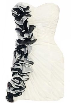 Cascading Corsage Dress: Features a beautiful strapless design defined by a chic sweetheart bustline, expertly-gathered fabric throughout, and a top-to-bottom train of origami-style corsage décor cascading down the right side to finish.