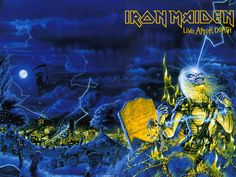 Iron Maiden's Live After Death, front and back cover as one piece of art. IronMaidenWallpaper.com