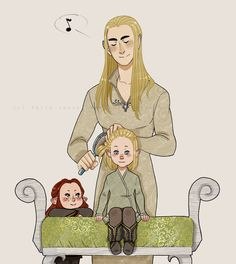 "Thranduil with little Legolas and Tauriel from ""The Hobbit"" - Art by akita-sensei.tumblr.com"
