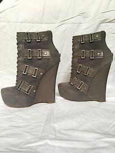Alejandro Ingelmo 'Cece' Gray Suede Leather Buckle Zip Platform Wedge Boot 6 36 | eBay