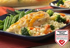 15 minutes is all you need to put together this scrumptious one-dish casserole! Tender chicken breasts sit on top of a bed of creamy rice with broccoli and carrots. Topped with melted Cheddar…dinner is served!