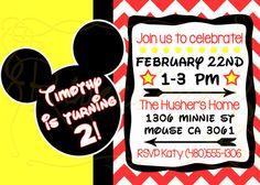 Printable Birthday Invitation Mickey Mouse Disney Inspired
