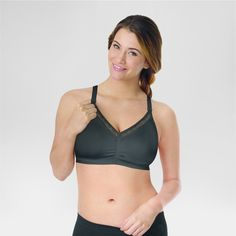 Playtex Women's Nursing Shaping Foam Wirefree Bra with Lace - Black Xxl