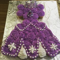 Funfetti Pull apart cake of Princess Sophia's dress for a 3rd birthday party