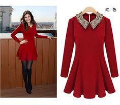 Spring Women Temperament Sequins Peter Pan Collar Waisted Slim Dress