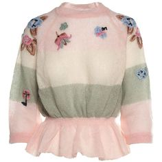 Ruffled Floral Embroidery Mohair Blend Sweater (7.202.100 IDR) ❤ liked on Polyvore featuring tops, sweaters, floral, pink, salmon, ruffled sweaters, pink crew neck sweater, dolman sleeve sweater, ruffle top and peplum top