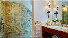 mediterrán rusztikus fürdőszoba - Luxusházak, lakások