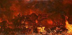 The siege of Minas Tirith, by Stephen Hickman.