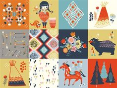 Wildland - Fabric collection from Birch Fabrics - designs by Miriam Bos #illustration #miriambos