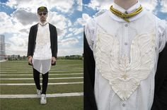 Subcult Wing Embroidered Patch On Mesh Tank Tunic, G Star Button Down Shirt, Snake Coil Necklace