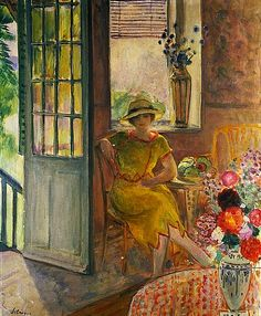 Henri LeBasque    Nono in an Alcove with Bouquets of Flowers    1918