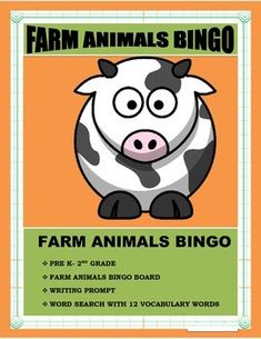 This Farm Animal BINGO is a very cool way to celebrate fall in yourclassroom. Great lesson after the fall trips to the farm. Studentslearn vocabulary terms while reviewing colors and practicing writingsimple sentences. GREAT FOR PRE K- 2ND GRADELESSON PLAN1. Grade 1, Bingo Board, Board Games, First Grade Lessons, Simple Sentences, Kindergarten Lessons, Best Teacher, Teacher Tips, Literacy Stations