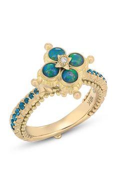 Lotus Ring – Diamond, Opal & London Blue Topaz – Barbara Bixby