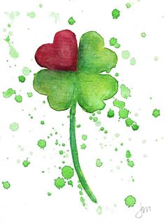 Four Leaf Clover Heart Splatter Watercolor Print Watercolor Cards, Watercolor Print, Watercolor Flowers, Watercolor Paintings, Clover Painting, Site Art, Clover Tattoos, Galaxy Painting, Happy Paintings