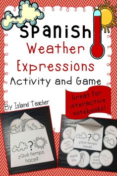 Spanish weather expressions activity and game idea. Can stand alone or be added to an interactive notebook.