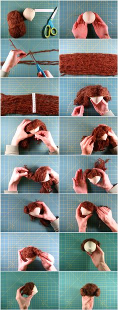 DIY Doll Hair — Although this is for a rag doll, it could be customized for BJD wigs. Doll Wigs, Doll Hair, Diy Dolls Hair, Balage Hair, Peg Doll, Doll Tutorial, Amigurumi Tutorial, Sewing Dolls, Waldorf Dolls