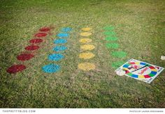 Twister with spray paint on the lawn! You'd probably have to buy washable so you can wash it off the rented grass. XD