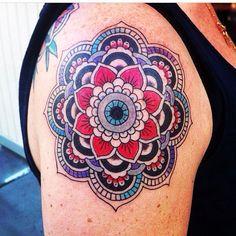 Prob my fav mandala so far. Jason nailed the color patterns here. I am no longer an upper-arm tattoo virgin!