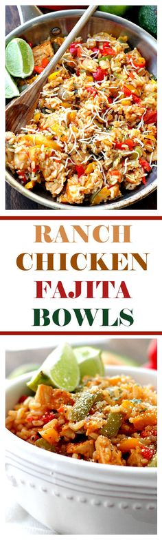 Ranch-Chicken Fajita Bowls | www.diethood.com | Strips of chicken, peppers and onions tossed with ranch dressing and served with rice.