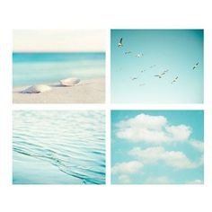 aqua blue print ocean seashore coastal wall art seashells clouds water... ❤ liked on Polyvore featuring backgrounds, fillers, pictures, art, photos, detail, effect and embellishment