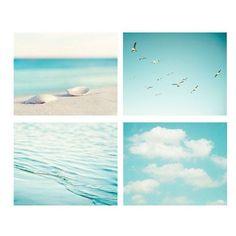 aqua blue print ocean seashore coastal wall art seashells clouds water... ❤ liked on Polyvore featuring home, home decor, wall art, backgrounds, beach, icon, photo, coastal wall art, photo wall art and photography wall art