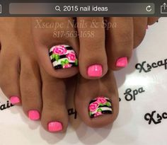 Super cute pink roses with black and white strips on the big toe nails, love this. Would be just as cute on finger nails. Get Nails, Fancy Nails, Love Nails, Pretty Nails, Pretty Toes, Flower Toe Nails, Pink Toe Nails, White Toenails Polish, Black Nails