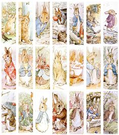 digital download of 21 microscope slide sized (one inch by three inches) images of Peter Rabbit and Benjamin Bunny...$3.50