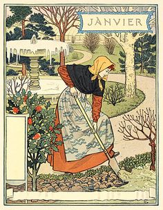 January/ Janvier - Eugene Grasset's 'Les Mois' - wonderful wood engravings of gardening throughout the year.