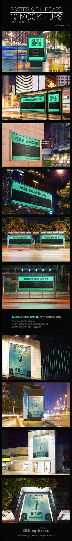 Today, we're excited to present you a nice set of 10 Poster & Billboard PSD MockUps with high quality. Display your advertising campaign or poster in an outdoor environment in realistic way. Have a look & feel FREE to download right now!