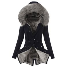 Winter Jackets Women, Coats For Women, Sweat Noir, Black Leggings Style, Winter Fashion Casual, Winter Tops, Long Jackets, Fur Jackets, Cotton Jacket