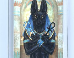 Anubis Egyptian God Print by goldenwolfart on Etsy