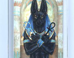 Anubis Egyptian God Print by goldenwolfart on Etsy