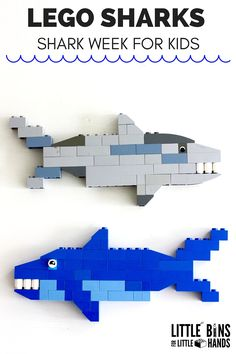 LEGO Sharks for Kids Shark Week Activities and Shark STEM. Shark building activity for ocean theme.