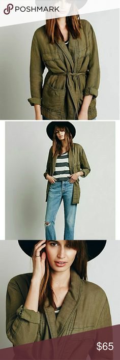 Free People belted wrap jacket Excellent condition. Easy casual style.  Over sized fit.   Some light discoloration on the back...was there when I purchased. No trades, ✌😊offers considered. Free People Jackets & Coats
