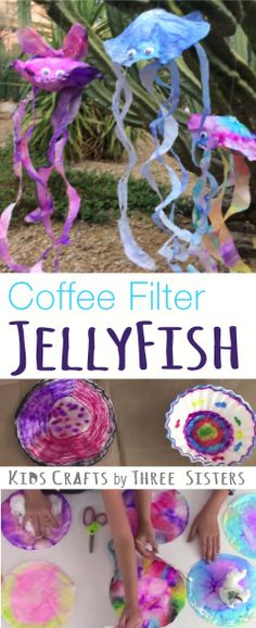 Make this adorable Coffee Filter JellyFish using Washable Markers & Coffee Filters. Kids Crafts by Three Sisters recycles everyday items around the house into works of art.