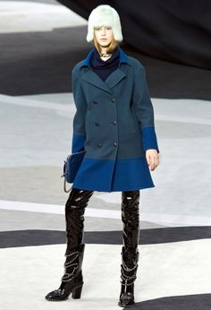 Chanel fall 2013 RTW blue colorblock coat - saved by Chic n Cheap Living