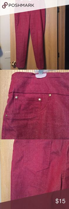 Comfortable pants. Worn once. No zippers or buttons. Cute pocket detail. Burgundy color. Ruby Rd Pants Straight Leg
