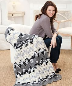 Looking for a cool pattern that's completely unlike anything that you've ever created before? Then you definitely want to check out the Contemporary Granny Ripple Throw!