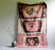 Vintage Balkan Kilim Flat Weave Rug 5' x 3' by LittleDogVintage, $295.00