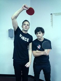 Brandon Flowers and Craig Roberts backstage at The Killers concert in LA