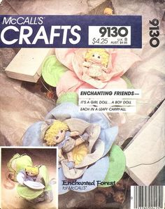 McCall's Pattern 9130 Enchanting Friends - Soft Dolls + Carryall Complete
