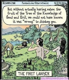 Mens Womens Humor : The First Lawyer - Adam and Eve...