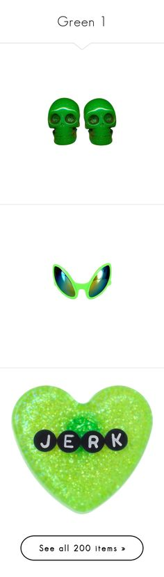 """""""Green 1"""" by a-dash-of-crazy on Polyvore featuring jewelry, earrings, accessories, skull jewellery, earring jewelry, skull jewelry, skull earrings, eyewear, sunglasses and glasses"""