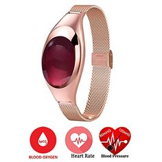 Relee Heart Rate Blood Oxygen Pressure Monitor Wirless Fitness Tracker Sport Wristband Smart Wrist Bracelet watch with MultiFunctions Activity Jewelry Smart Bracelet Pedometer Watch Golden -- Want to know more, click on the image.