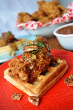Chicken and Waffles with Bourbon Maple Pecan Pie Glaze