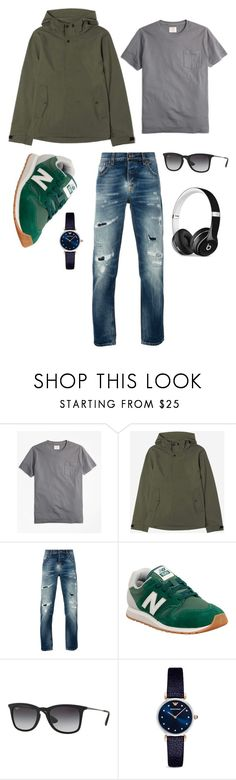 """Men's Street Fashion"" by viddaah ❤ liked on Polyvore featuring Brooks Brothers, Everlane, Nudie Jeans Co., New Balance, Ray-Ban, Emporio Armani, Beats by Dr. Dre, men's fashion and menswear"