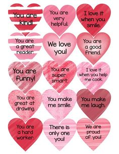 Every day in February, add a compliment heart to your child's door. Just think of the excitement on their face as they wake up looking for their new compliment. Kinder Valentines, Valentine Gifts For Kids, Valentines Day Activities, Valentine Day Love, Valentines Day Decorations, Valentine Day Crafts, Valentines Notes For Him, Valentines Hearts, Diy Gifts For Boyfriend