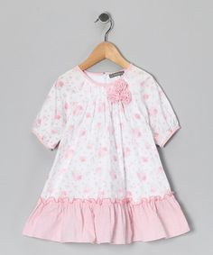 Take a look at this White & Pink Floral Rosette Dress - Infant & Toddler by Les Petits Soleils on #zulily today!